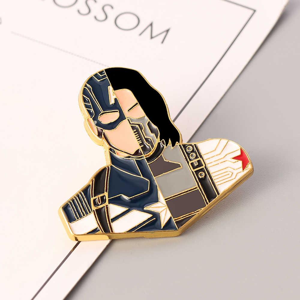 Kapten Avengers Kreatif Sambatan Pin Bros Bucky Barnes Thor Loki CP Sambatan Enamel Lencana Bros Perhiasan Hadiah
