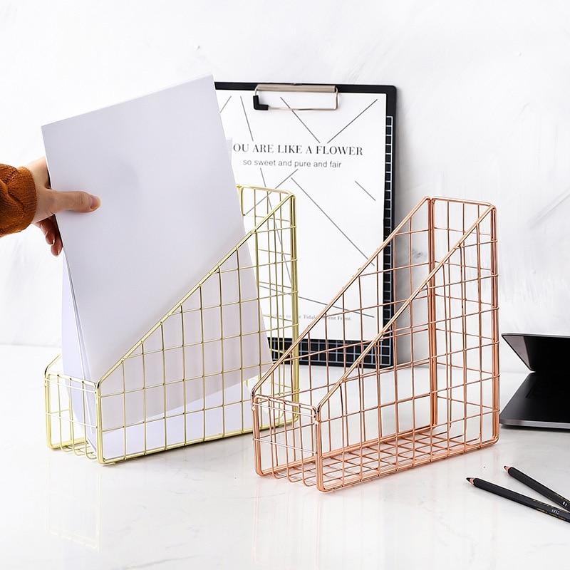 Electroplated Iron Book Holder Desktop Shelf File Magazine Book Stand Office Home Stationery Organizer Holder