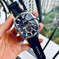 Дизайнерские спортивные часы Reef Tiger/RT с турбийоновым ремешком из нержавеющей стали  автоматические часы с синим циферблатом RGA3069