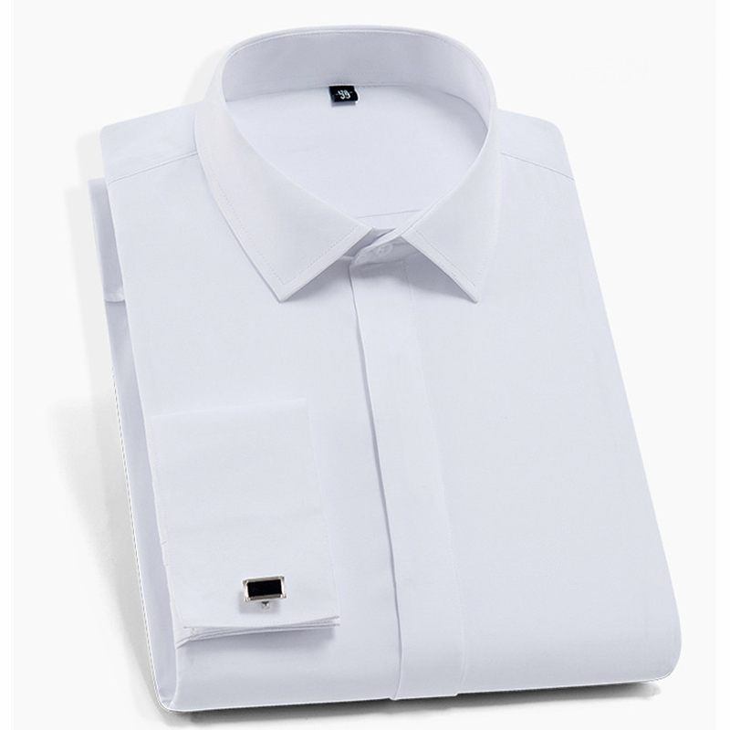 Quality  French Cufflinks Covered Button Turndown Collar Long Sleeve Solid Plain Business Men Slim Fit Non-iron Dress Shirts