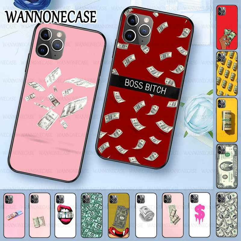 Zwarte Tpu Soft Silicone Phone Case Cover Voor Iphone 11pro 5 S 6 S 7 8 Plus X Xs Xr xsmax Coque Cartoon Dollar Geld Dollar Bill