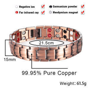 Image 2 - Hottime Double Row 4 IN 1 Bio Elements Energy Magnetic Bracelet Mens Fashion Healing 99.95% Pure Copper Bracelets Bangles