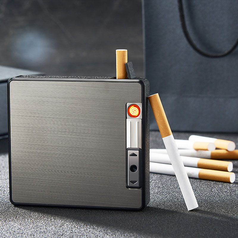 Portable Metal Cigarette Case For19pcs Cigarettes Holder Box Creative Electronic USB Lighter Alloy Automatic Windproof Gadget