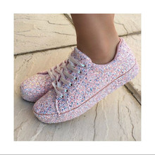 2019 new women flats shoes lace up casual loafers flatform single shoe woman round toe bling  wxx075