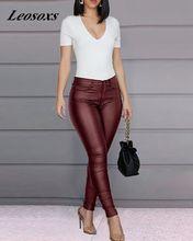Spodnie damskie babie lato kobiece legginsy Vintage Faux Leather Slim wysokiej talii dorywczo spodnie damskie spodnie dla kobiet tanie tanio Pełna długość Fałszywe zamki błyskawiczne CN (pochodzenie) Na wiosnę jesień M602 Stałe Sexy Club rurki Mieszkanie