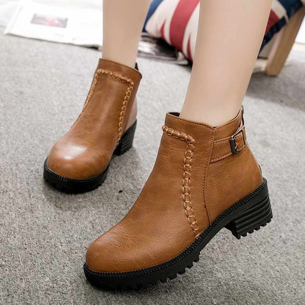 Buckle Strap Student Boots Women Casual High-Heeled Thick Platform Single Boots Fashion PU leather Pointed Toe Shoes botas mujer