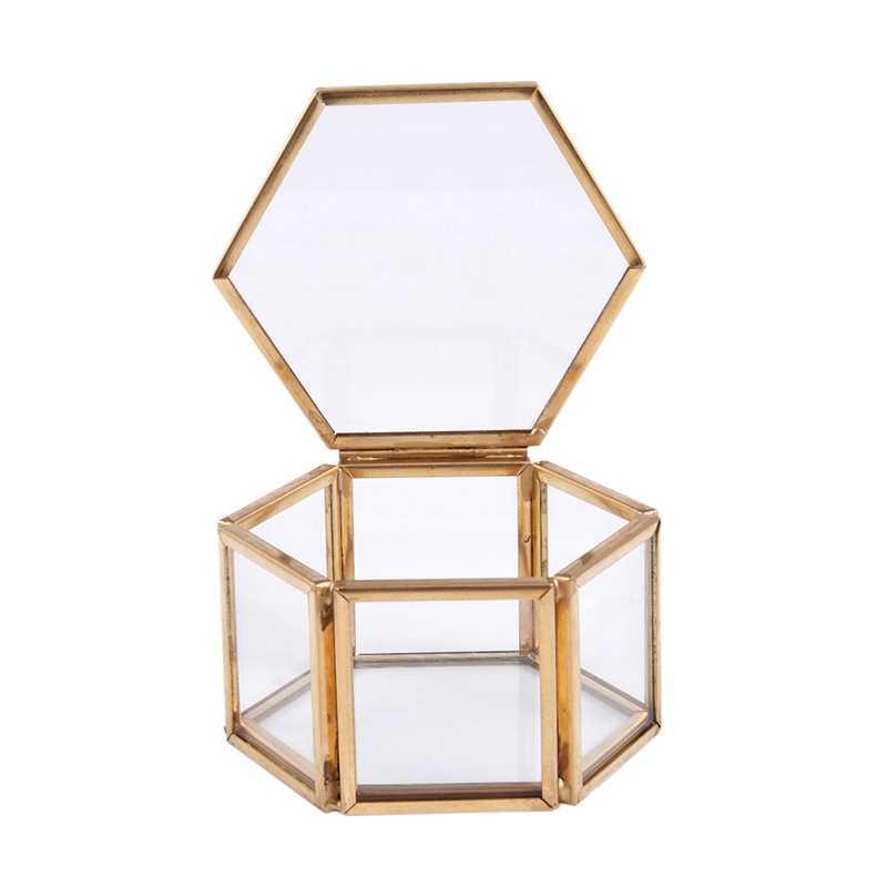 هندسي واضح مربع المجوهرات الزجاج والمجوهرات حامل مُنظِم منضدية النباتات العصارية حاوية تخزين المجوهرات المنزلية