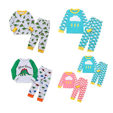 2019 Kids Pajamas Set Lovely Boys Girls Cartoon Dinosaur Long Sleeve Pure Cotton Christmas Clothes Suit