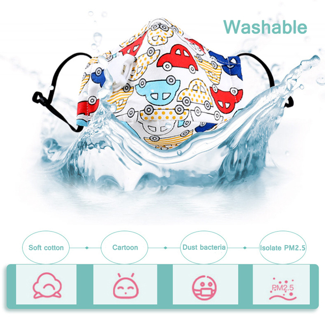 PM2.5 Children Face Mask Kids Cotton Mouch Mask Child Anti Dust Mascarillas Non-woven Fabric With Breath Valve Unisex Reusable 1