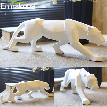 ERMAKOVA Resin Abstract Leopard Statue Panther Hand Craved Animal Figurine Sculpture Modern Home Office Decoration Ornaments