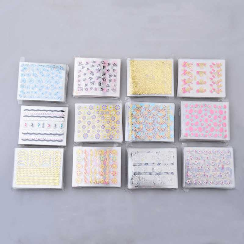 10 Lembar/Set Nail Art Sticker Bunga Stiker Kuku Stiker Bunga Desain Gel Manikur Decor Slider Air foil
