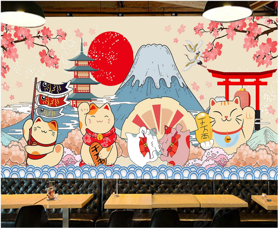 97c2a40e8e Hand Painted Cartoon Japanese Sushi Lucky Cat