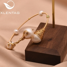XlentAg Natural Fresh Water Pearl Handmade Adjustable Bangles For Women Wedding Engagement Party Gift Luxury Fine Jewelry GB0098