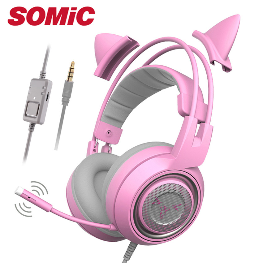 SOMIC G951S Kids PS4 Gaming Headset casque Pink Girls Cat Ear PC Stereo Headset with Microphone for Xbox One/Phone/Laptop Tablet image
