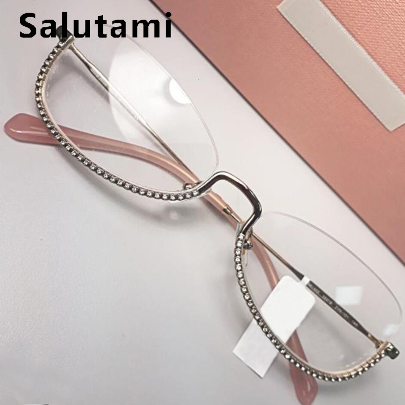 Luxury Brand Crystal Clear Glasses Frame Women Rimless Rhinestone Pink Eyewear Female Sexy Alloy Eyeglasses Ins Cat Eye Shades