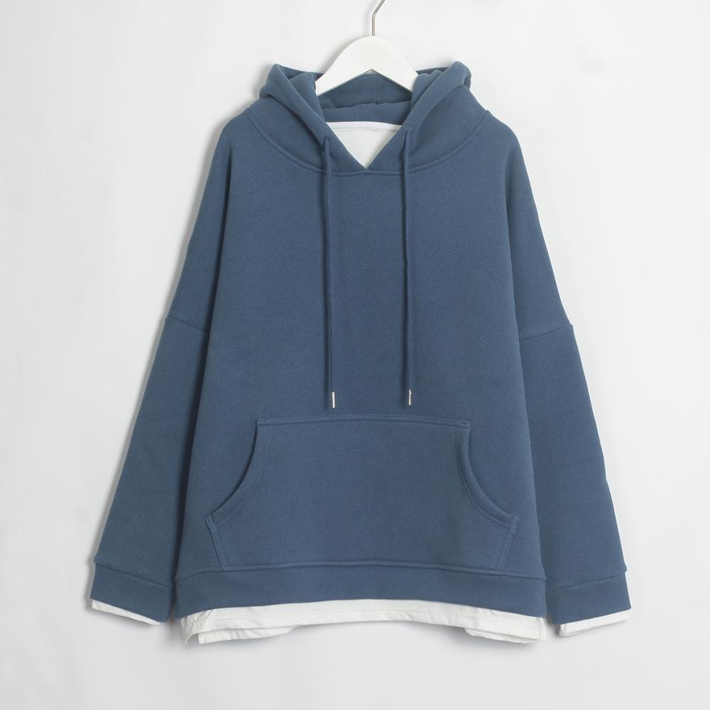 Wixra Women Casual Sweatshirts Warm Velvet Long Sleeve Oversize Hoodies Tops 2019 Autumn Winter Pullover Tops 8