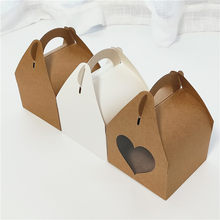 20pcs/lot Large Kraft Paper Gift Box With Handle Wedding Birthday White Cardboard Cake Box black Cupcake Box For Packaging Gifts(China)