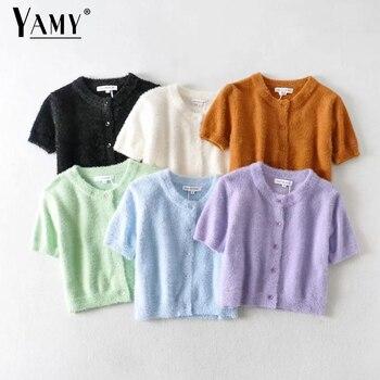Sweater women cardigan short sleeve streetwear korean knittted sweaters elegant white cardigans black summer shirt 2020