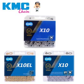KMC 10 prędkości łańcucha X10 X10EPT X10EL X10SL złoto srebro 116 linki MTB szosowe łańcuchy oryginalne zapakowane Mountain części rowerowe tanie i dobre opinie CN (pochodzenie) X10 X10 EPT X10 EL X10 SL