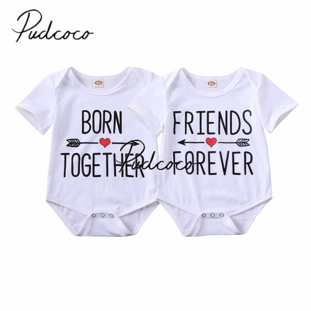 2020 Baby Sommer Kleidung Neugeborenen Baby Mädchen Jungen Twin Kleidung Set Kurzarm Strampler Brief Drucken Overall Outfits 0- 18M