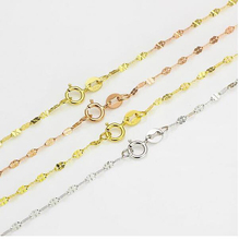 Fine Au750 Real 18K Rose White Yellow Gold Chain Women Clover Link Necklace 16inch 18inch