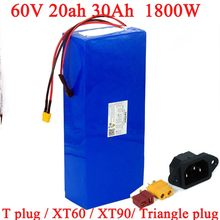 Batterie li-ion pour vélo électrique, 60V, 20ah, 30ah, 18650, 750W, 1500W, 1800W, BMS, protection haute puissance, sortie 30A, kit de conversion