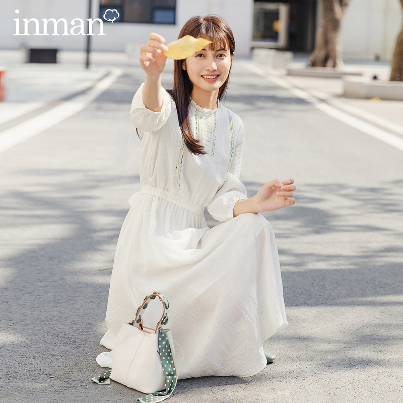 INMAN 2020 Summer New Arrival Splicing Lace Embroidered Literary Cute All-match Half Sleeve Dress