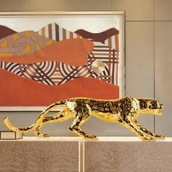 Европейская леопардовая Фигурка «на удачу» Panthera Pardus статуя Смола ремесло настольные Современные Простые фигурки животных украшения дома ...