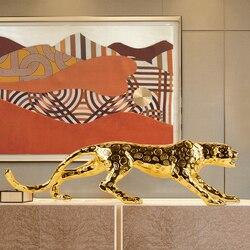 Europäische Leopard Skulptur Glück Panthera Pardus Statue Harz Handwerk Desktop Moderne Einfache Tiere Figuren Home Schmücken R2768