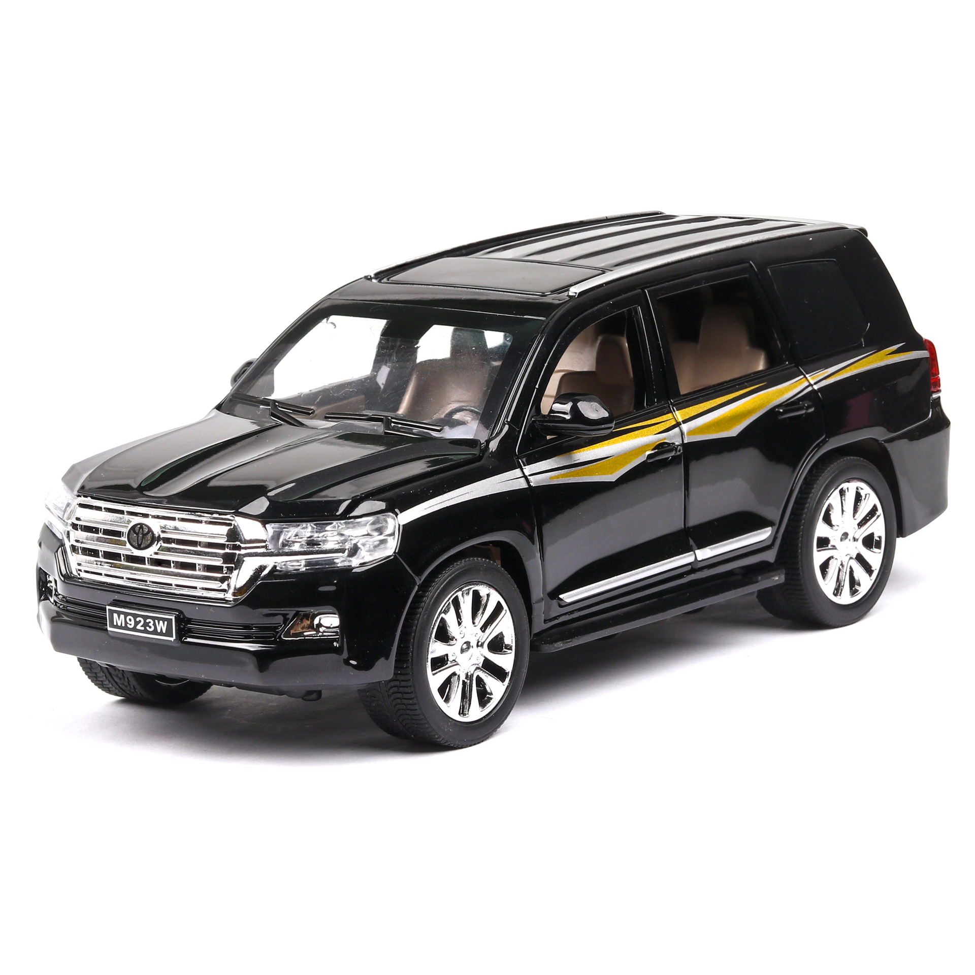 1:24 Toy Car Model Diecast Metal Wheels Land Cruiser SUV Simulation Music Light Pull Back Car Collection Kids Boys Toys Gift