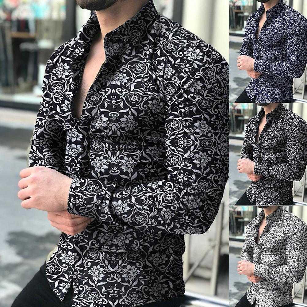 เสื้อแฟชั่นผู้ชายแขนยาวลายดอกไม้พิมพ์เสื้อเสื้อฤดูใบไม้ร่วงผู้ชาย Camisa ปุ่ม Lapels COLLAR ชายเปิดลง...