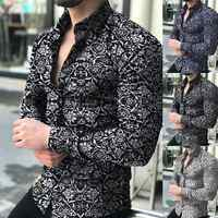 Fashion Shirts For Men Long Sleeve Floral Print Shirt Autumn Shirts Men Dress Camisa Button Lapels Collar Male Turn Down Collar