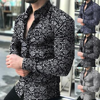Fashion Shirts For Men Long Sleeve Floral Print Shirt Autumn Shirts Men Dress Camisa Button Lapels Collar Male Turn Down Collar