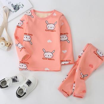 Dziecięce piżamy garnitury dla niemowląt garnitury maluch chłopcy dziewczęta polarowe ciepło nadruk kreskówkowy topy spodnie garnitury garnitury domowe tanie i dobre opinie COTTON CN (pochodzenie) Cartoon Wokół szyi Dziewczyny Pełna REGULAR Casual Pasuje prawda na wymiar weź swój normalny rozmiar