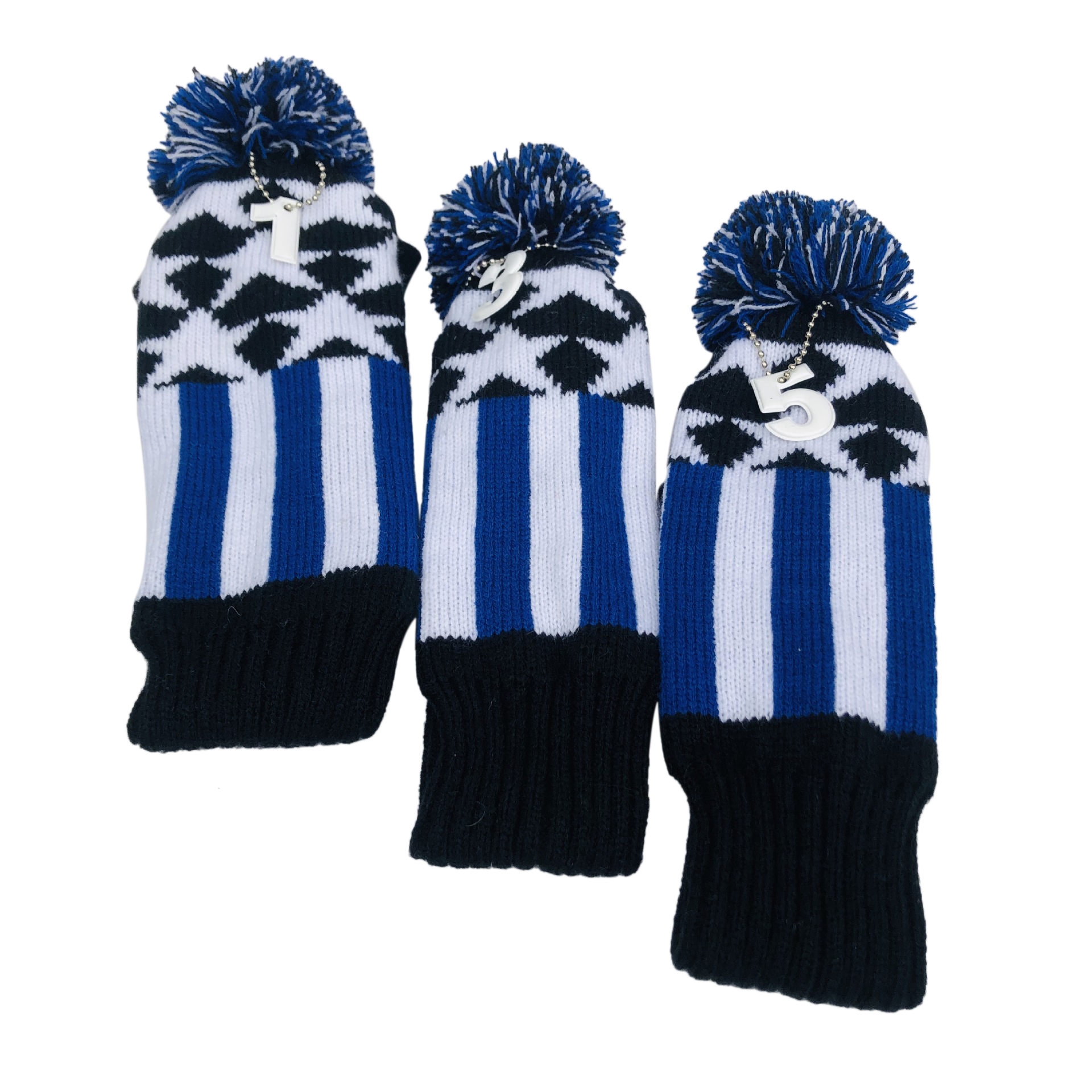 3 Pcs Knitted Golf Headcover Driver Cover, Golf Club Wood Head Covers Fit For Driver Wood, For Male/Female Golfers