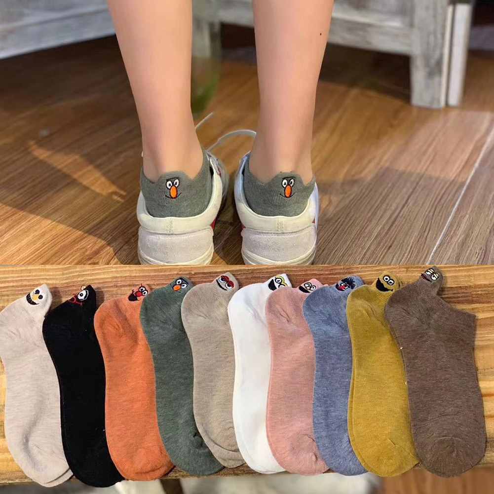 1 Pair Cartoon Women Socks Fashion Ankle Funny Socks Cotton Embroidered Expression Cute Solid Female Woman Socks