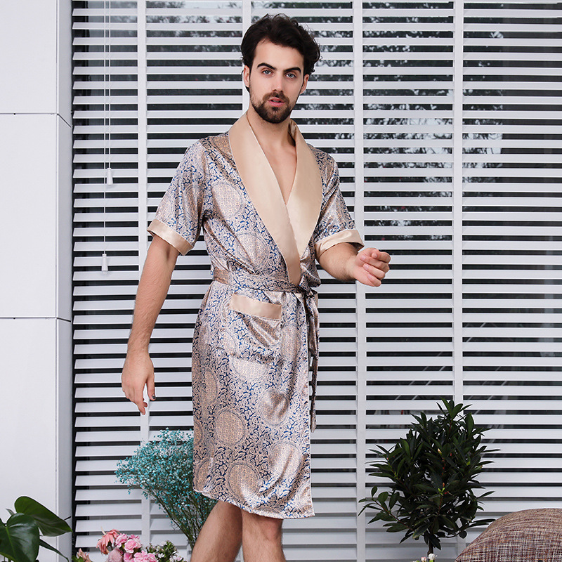 Short Sleeve Nightgown Men's Pajamas Summer Men Robe Silk Ice Pajamas Mens Kimono Men's Long Silky Gown Buy China Direct