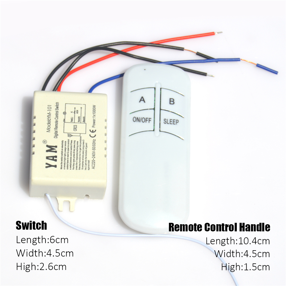 220V Wireless ON/OFF Lamp Light Digital Remote Control Switch Receiver Transmitter 1 Channel 2 Channel 3 Channel 4 Channel
