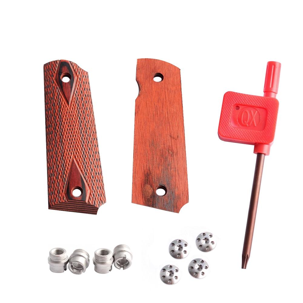 MAGORUI 1911 клетчатые красные алмазные деревянные ручки с шестигранными винтами и винтами SS Захваты для Glock для настоящего оружия