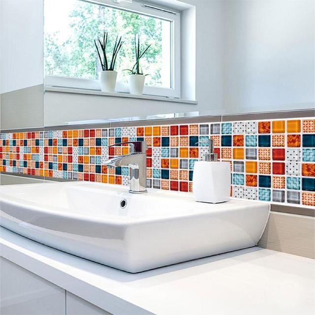 19Pcs Mosaic Tile Wall Sticker Self Adhesive Pvc Waterproof Tiles Decals Diy Kitchen Bathroom Home Wall Sticker Vinyl 3D 3