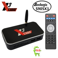 X3 cubo Amlogic S905X3 Dispositivo de TV inteligente Android 9,0 2GB 4GB DDR4 16GB 32GB ROM 2,4G 5G WiFi BT 4K HD Media Player X3 PRO vs X2 cubo