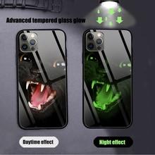 Black cat Phone Case Glow Luminous Tempered Glass For iPhone 12 11 Pro XR XS MAX 8 X 7 6S 6 Plus SE 2020 12 Pro Max Mini case