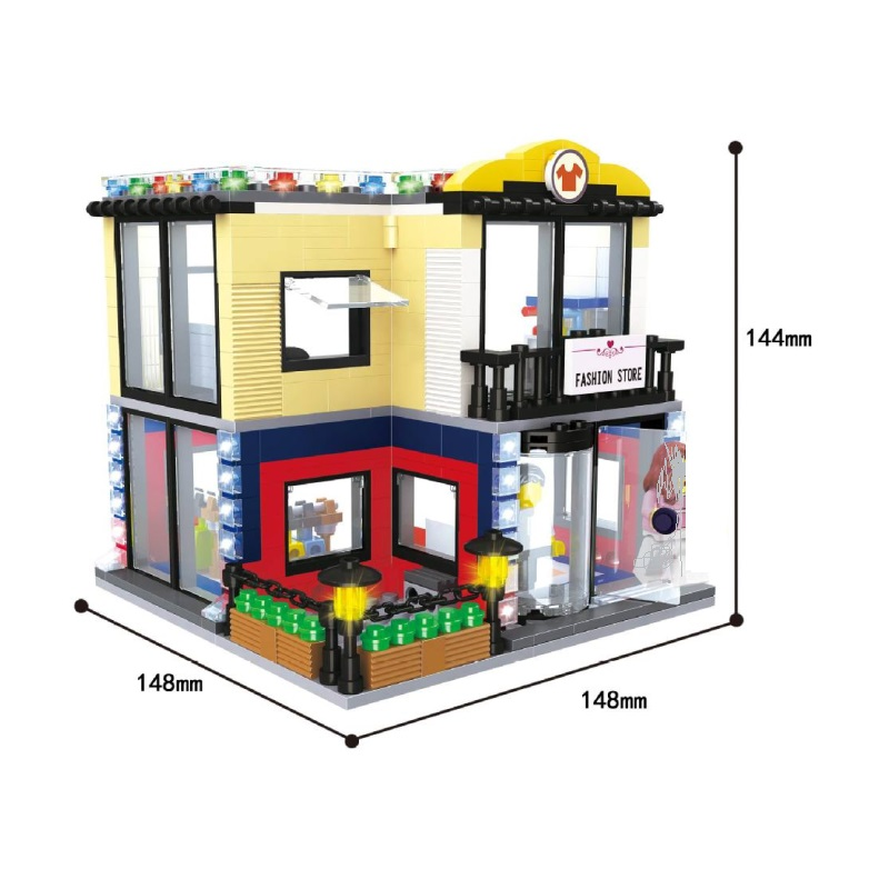 Hsanhe City Series Building Blocks street Store Architecture Pet shop Couture Billiard hall Opera Kids educational toy Gift 6700