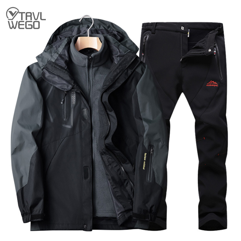 TRVLWEGO Winter Men Ski Jacket Suits Hiking Camping Sports Fleece Windbreaker Thermal Fleece Pants Trekking Man Sets Outdoor