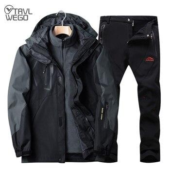 TRVLWEGO Winter Men Ski Jacket Suits Hiking Camping Sports Fleece Windbreaker Thermal Fleece Pants Trekking Man Sets Outdoor цена 2017
