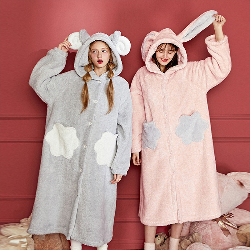 Women's Sleepwear Lolita Cute Cartoon Animal Flannel Robe Hooded Pajamas.Bathrobe Sleep Robes Nightgown Dressing Gown Loungewear