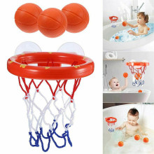 Safe Original Kids Funny Bath Toys Plastic Bathtub Shooting Game Toy Set Basketball Suctions Cups Mini With Hoop Balls Children(China)