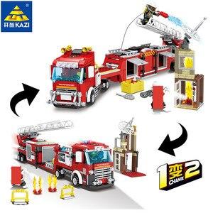 Image 2 - Ville incendie sauvetage véhicule forêt échelle camion de pompier voiture blocs de construction définit pompier Brinquedos jouets éducatifs pour les enfants