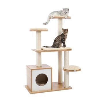 New Arrival Cat Tree H145 cm Multi-layer With Natural Sisal Scratching Post Cat sleeping Kennel Kitten Favor Funny Toy Cat House