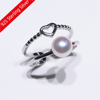 925 Pure Silver Fashion Heart-shaped style Pearl Ring Accessory Adjustable Ring Mountings DIY Double-deck Rings Jewelry Making